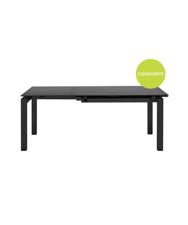 Connubia Airport Dining Table, Stone Top with Black Leg