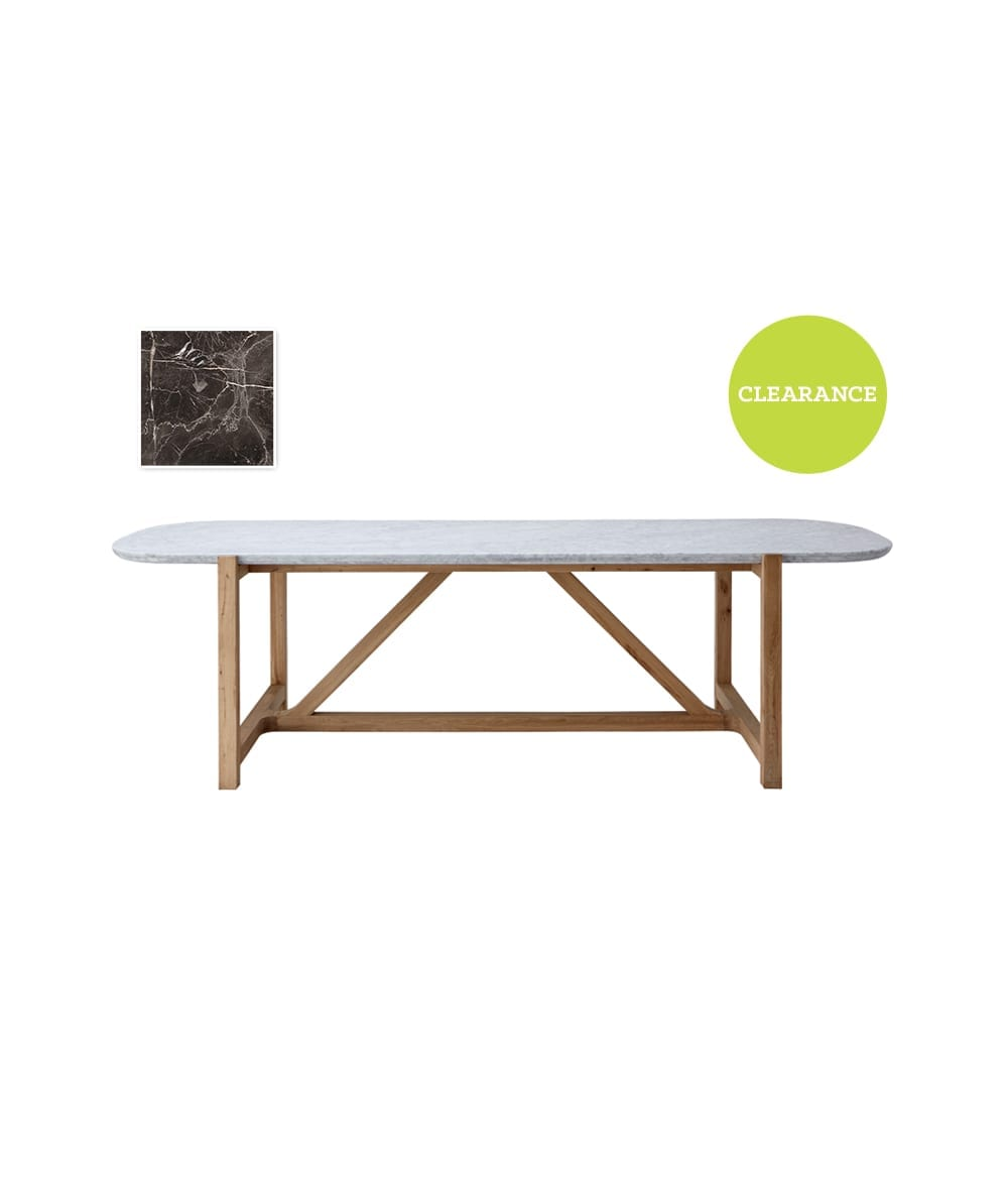 Halo Bleu Nature Marble Stoneleaf Dining Table in Brown
