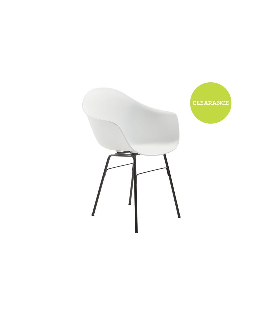 Toou Shell Dining Chair, White with Metal Leg