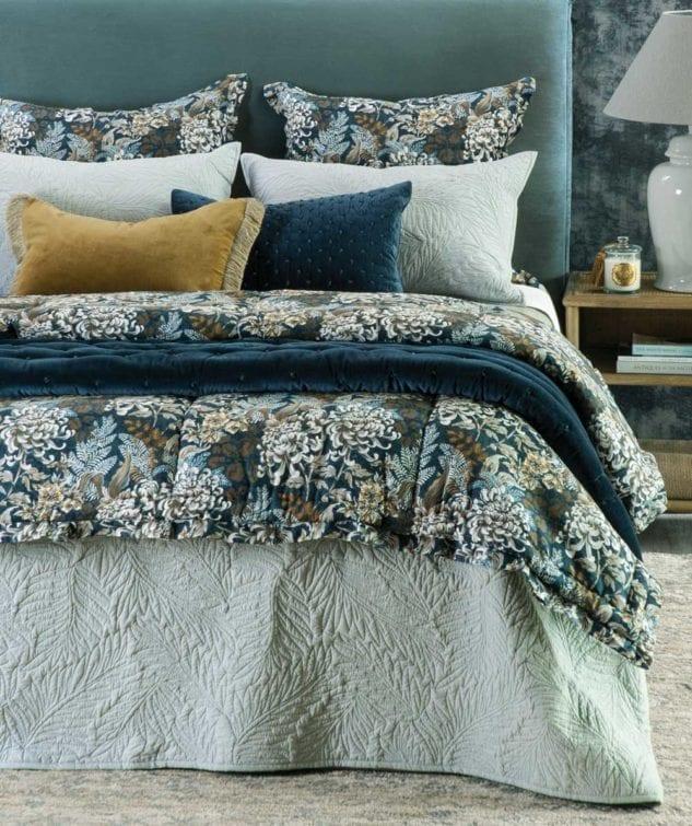 Bianca Lorenne Fougere Bedspread riad indigo 633x755