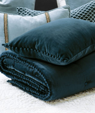 Bianca Lorenne mateo prussian blue comforter and cushion 316x377