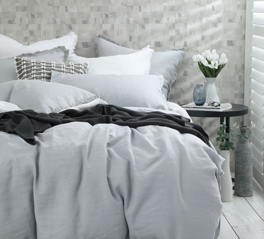 MM Linen Laundered Linen Duvet Set in Pewter