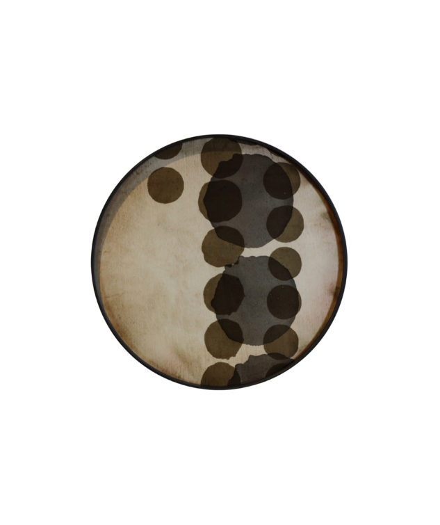 Notre Monde Tray Round Large-Glass Slate Layered Dots