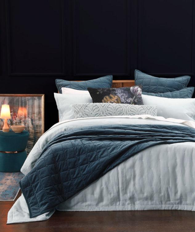 MM Linen Meeka Comforter Indigo with Laundered Linen bedspread