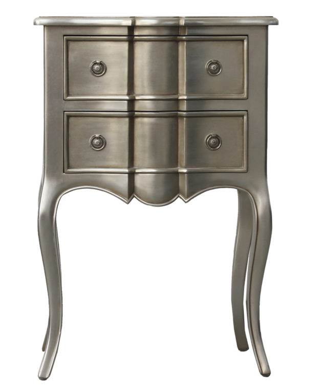 CC interiors French Provincial Bedside with 2 Drawers Silver Front 633x755