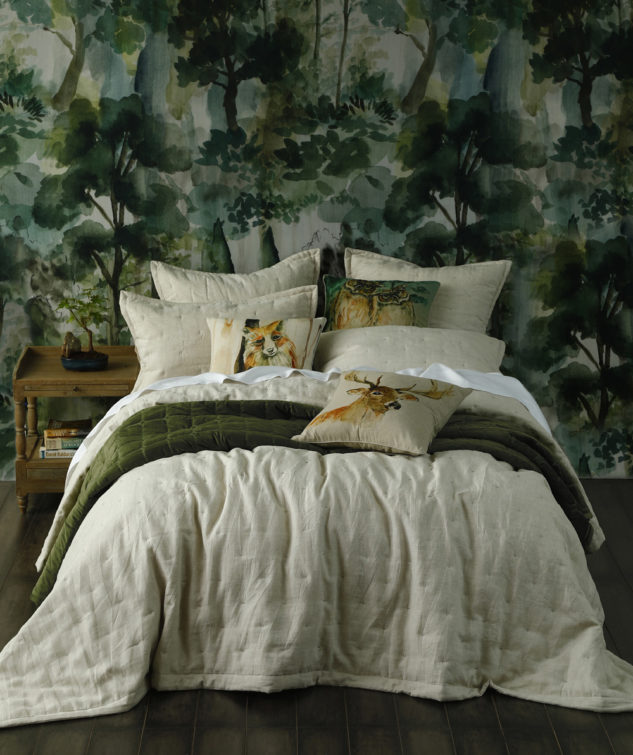 Laundered Linen Bedspread Natural with Meeka Pesto Comforter