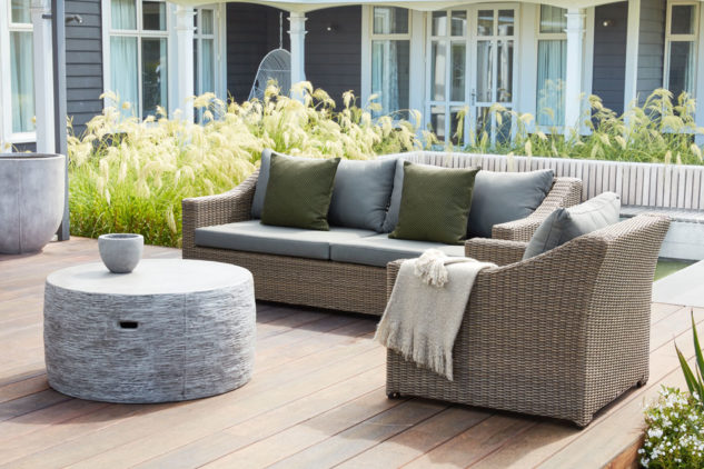 Portico Bermuda Outdoor Sofa and Avila Concrete Table